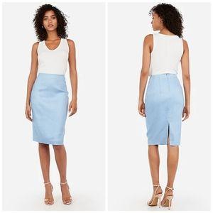 Express Linen-Blend Light Blue Pencil Skirt